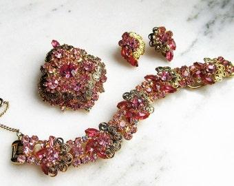 Vintage DeLizza & Elster Juliana Pink Rhinestone Parure Jewelry Set