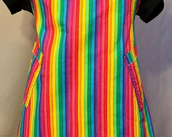 Rainbow Stripes with Raw edges Child Size Apron