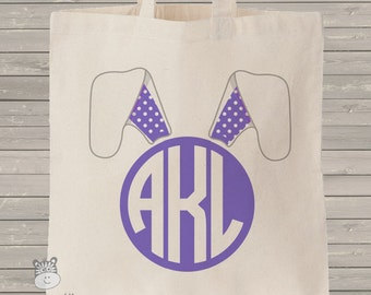 Easter bunny circle monogram floppy ears personalized tote bag - choose value or heavyweight tote MBAG-001-1
