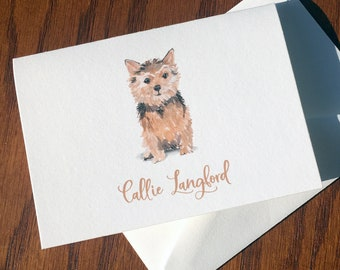 Norwich Terrier Personalized Stationery, great gift for dog lovers, Jones Terrier stationery set 100% Cotton, custom gifts for dog lovers
