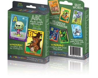 Hilarious ABC Flash Cards that make learning laugh out loud fun!