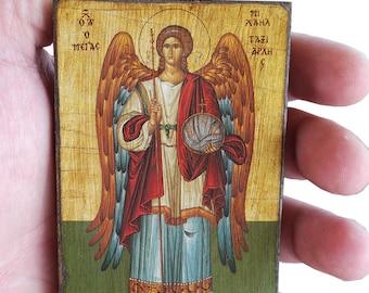 Archangel Michael - Orthodox Byzantine icon on wood (8.4 cm x 6.3 cm)