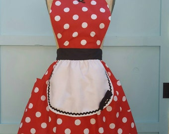 MINNIE MOUSE apron womens  red  Polka Dots apron