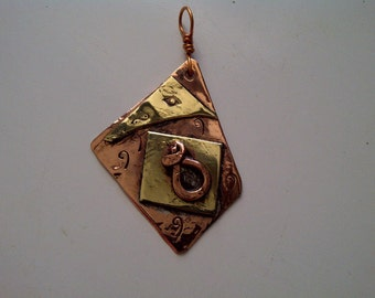 Copper and Brass, soldered, Pendant
