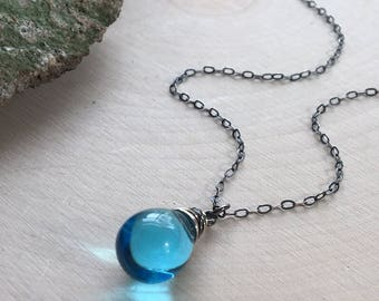 Aqua Blue Glass Necklace. Sterling Silver. Glass Drop Necklace. Wire Wrapped Jewelry. Light Blue Necklace. Gift Under 20. Czech Glass