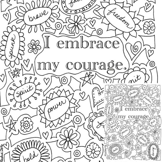 I Embrace My Courage Printable Coloring Page Instantly