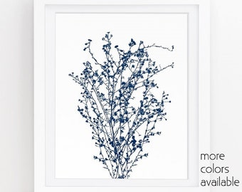Navy blue wall art, Indigo printables, Nature art prints, Blue wall art, Kitchen wall art, Modern minimalist, 5x7, 8x10, 11x14, 242d