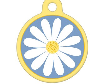 Pet ID Tag - Daisy Pet Tag, Dog Tag, Cat Tag, Luggage Tag, Child ID Tag
