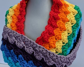 Retro Striped Scarf Handmade Colorful Scarf Statement Accessory Infinity Loop Circle Scarf - Ready to Ship & On Sale Now!