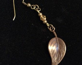 Leaf Earrings: Brass Leaf with Swarovski Crystal