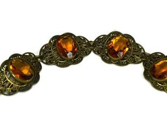 Ornate Art Deco Czech Glass Filigree Bracelet Citrine and Brass