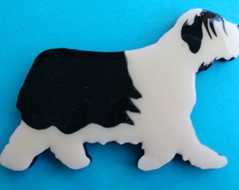 Polish Lowland Sheepdog Pin, Magnet or Ornament -Color Choice -Hand Painted -Free Shipping