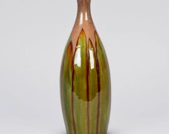 Brussels Mid-Century Slender Vase with Green Drip Glaze[7779]