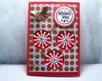 "handmade red and white ""Happy holidays"" V 7 double post card"
