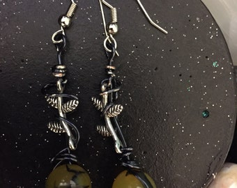 Dragon vein agate wire wrapped around metal vines dangle earrings