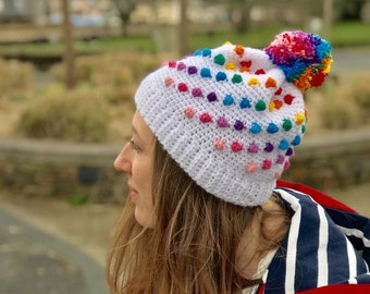 PATTERN Rainbow Bobble Beanie Crochet