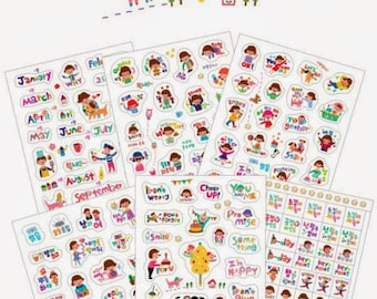 Cute Planner Stickers (6 sheets) / Cute Stickers / Korean Stationery / Cute Stickers / Kawaii Stickers / Cute Stationery / Minzzang Stickers
