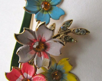 Charming vintage pin -  long bouquet of beautiful colored flowers with rhinestone centers