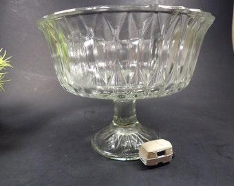 Large clear glass pedestal bowl