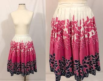 1950's Novelty Print Cotton Skirt, Full A-line Skirt