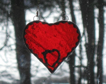 Stained Glass Heart #4 - red with small heart