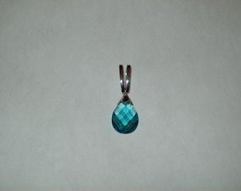 """Sterling Silver Pendant Swarovski """"Bermuda Blue Color"""""""