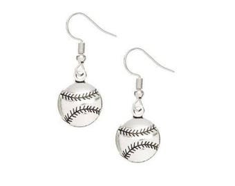 Softball earrings, baseball earrings, sports earrings, softball jewelry, baseball charm earrings, Petite Silver earrings