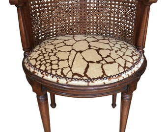 Antique Louis XVI Style Boudoir Chair   Scalamandre Velvet