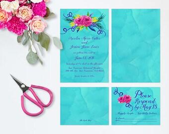 Colorful Wedding Invitations for Vibrant Weddings   Turquoise Wedding Invites #LoveWins