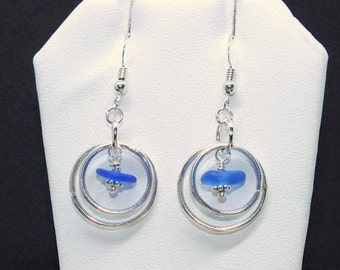 Sea Glass Earrings, Sterling Sea Glass Earrings,  Blue Glass Earrings, Lake Jewelry,  Sea Glass Etsy, Jewelry For Mom, Beach Gift
