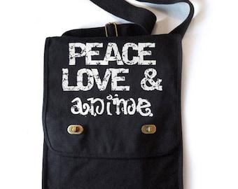 Peace Love & Anime Bag canvas book tote small laptop bag anime school bag otaku geek gift fandom