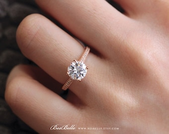 1.64 ct.tw Solitaire Engagement Ring-Brilliant Cut Center-All Around Pave Stones-Bridal Ring-Rose Gold Plated-Sterling Silver [0654RG-1]