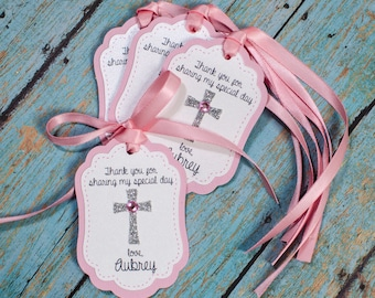 12 Baptism Personalized Favor tags, Cross favor tags, christening, thank you tags