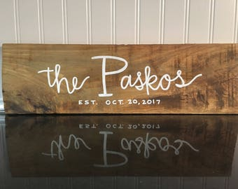 Large Initial Family Name Hand Lettered Wood Sign