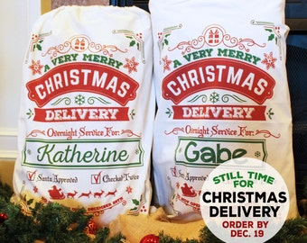 Personalized Santa Sack. Multiple Sizes. Santa Sack, Santa bag, Christmas Stocking, Christmas Bag, Add Your Child's Name - DESIGN 2