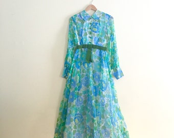 Vintage Watercolor Floral Maxi Dress // Blue & Green Retro Flower Hostess Dress // Hippie Boho Peter Pan Collar Chiffon Dress // 1960s