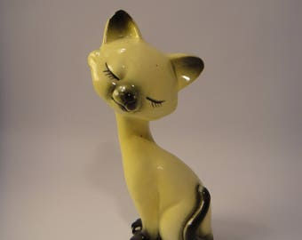 Sweet Vintage 1950's Yellow Siamese Kitty Cat  Long Neck Figurine Salt or Pepper Shaker- Made by Nasco del Coronado, Japan