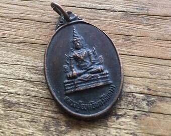 Vintage Copper Buddha Medal Pendant
