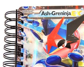Pokemon A5 Notebook - Fathers Day - Pokemon Gift - Ash Greninja - Pokemon Stationery - Upcycled Pokemon Cards