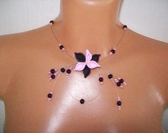 Bridal necklace wedding, bridesmaid, lily flower in fimo, pink pearls / black evening ceremony Christmas