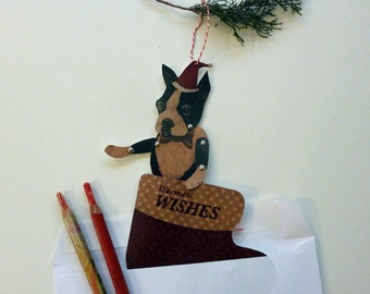 Printable PDF Boston Terrier Christmas Card Set Boy Dog Paper Puppet for Children, Holiday Fun, Brown, Black, Red