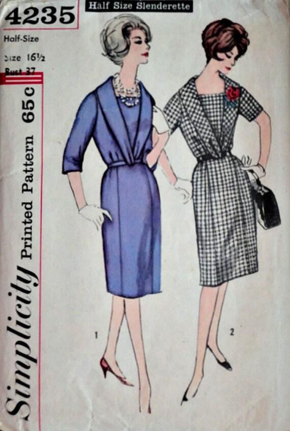 Vintage años 60 Slenderette medio vestido, cuello chal, patrones de ...