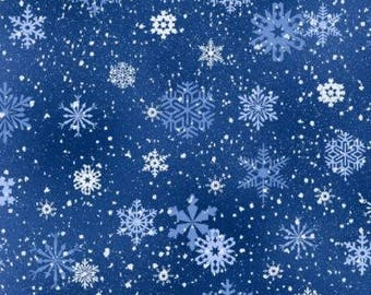 Snowflake Fabric: NEW Elizabeth's Studio Landscape Medley Snowflakes Royal Blue 100% cotton Fabric by the yard ES45