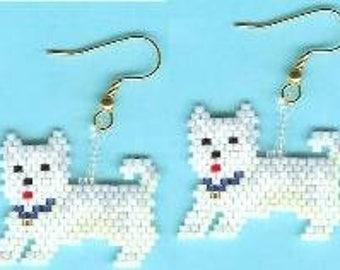 West Highland Terrier - Brick Stitch Earrings Pattern