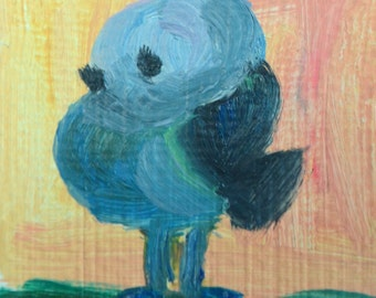 Original ACEO Oil Painting- A Fat Bird