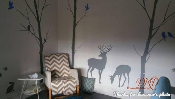 Wandtattoo Hirsch birke bäume aufkleber wandtattoo hirsch natur wandtattoos