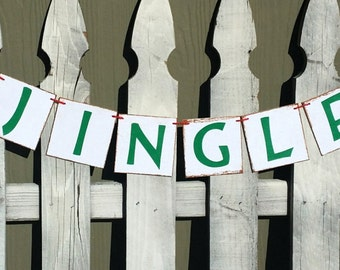 "Christmas Jingle Banner 4"" x 4"" Tiles Banner Christmas Holiday Wall Decor Banner"