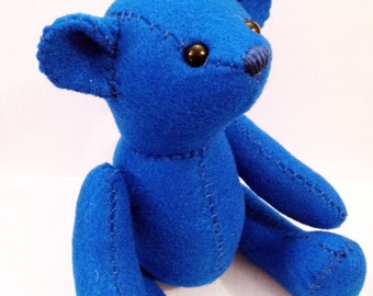 Teddy bear felt plushie stuffed animal- choose your color!