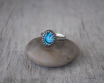 Paua Shell Ring in Sterling Silver - Handcrafted Artisan Silver Paua Abalone Ring