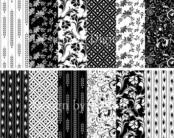 Black and white digital paper floral digital paper elegant Flower craft paper black and white scrapbook paper Elegnant floral wedding